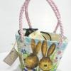 กระเป๋าถือเล็กผักตบชวาลายเปียทรงคางหมู ลายกระต่ายน้อยเริงร่า