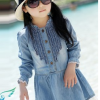 ชุดเดรสเด็กหญิง ผ้ายีนส์เนื้อนิ่ม แขนยาวต่อลูกไม้สีขาวชายกระโปรง น่ารัก หวานๆสไตล์เกาหลี ญี่ปุ่น ค่ะ