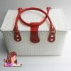 ชิ้นงานดิบ พลาสติกสาน ทำ Decoupage งานเพนท์ กระเป๋าปิ๊กนิค ขนาดใหญ่ สีขาว หูหนัง สีแดง L
