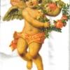 แนวภาพเทศกาล กามเทพถือช่อดอกไม้บนพื้นขาว เป็นภาพ 8 บล๊อคในแผ่น กระดาษแนพคินสำหรับทำงาน เดคูพาจ Decoupage Paper Napkins ขนาด 21X22cm