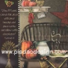 กระดาษสาพิมพ์ลาย สำหรับทำงาน เดคูพาจ Decoupage แนวภาำพ ฟักทองสองลูก เหยือกกาแฟขนาดใหญ่ และจานอาหารบนเก้าอี้ไม้ไผ่สุดคลาสสิค (ปลาดาวดีไซน์)