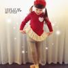 huanshu kids ชุดเซ็ทสาวน้อย 3 ชิ้น เสื้อสีแดงปักรูปหัวใจ +เลคกิ้ง + กระโปรง สีเทา