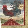 แนวภาพสัตว์ ภาพวาดไก่เกาะบนหลังคา ภาพโทนสีเทาแดง เป็นภาพ 4 บล๊อค กระดาษแนพกิ้นสำหรับทำงาน เดคูพาจ Decoupage Paper Napkins ขนาด 33X33cm กระดาษรุ่นพิเศษ
