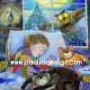 กระดาษสาพิมพ์ลาย สำหรับทำงาน เดคูพาจ Decoupage แนวภาพ น้องแมว น้องหมี น้องฮูก และเด็กน้อยหลับสนิทขณะหิมะตกบางๆในวันคริสต์มาส การ์ตูนแบบ อาร์ต อาร์ต