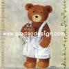 กระดาษสาพิมพ์ลาย rice paper เป็น กระดาษสา สำหรับทำงานฝีมือ เดคูพาจ Decoupage แนวภาพ น้องหมี เท็ดดี้ แบร์ Teddy Bear เด็กผู้ชายใส่เอี๊ยมขาวกอดตุ๊กตาหมีน้อย (ปลาดาวดีไซน์)