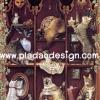 กระดาษสาพิมพ์ลาย สำหรับทำงาน เดคูพาจ Decoupage แนวภาพ 6 แอ๊ค กับ 6แมว ในตู้วางของโชว์ดีไซน์สวยเก๋