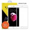 ฟิล์มกระจกเต็มจอ ฟิล์มกันรอยมือถือ IPhone 8 Plus 3D ขอบ Carbon fiber สีขาว (ไอโฟน8พลัส)
