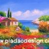 กระดาษสาพิมพ์ลาย สำหรับทำงาน เดคูพาจ Decoupage แนวภาำพ ภาพวาดสไตล์ยุโรปสีสันสดใสมากๆ บ้านบนเขา มีดอกไม้ล้อมรอบสีสันจัดจ้าน อยู่ใกล้ๆทะเลสาบ สวยมากๆ (ปลาดาวดีไซน์)