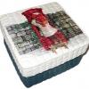 กล่องเก็บของ กล่องของขวัญ ผักตบชวาทรงจตุรัส แบบฝาครอบ ลายวินเทจ เด็กน้อยส่งไปรษณีย์