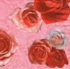 แนวภาพดอกไม้ ดอกกุหลาบสีแดงชมพู ภาพโทนสีแดง ภาพกระจายเต็มแผ่น กระดาษแนพกิ้นสำหรับทำงาน เดคูพาจ Decoupage Paper Napkins ขนาด 33X33cm