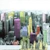 แนวภาพท่องเที่ยว เมืองนิวยอร์ค ภาพแนวกราฟฟิคย้อมสี เป็นภาพ 4 บล๊อค กระดาษแนพกิ้นสำหรับทำงาน เดคูพาจ Decoupage Paper Napkins ขนาด 33X33cm