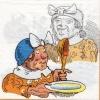 แนวภาพการ์ตูน คุณยายแม่ครัว กับไก่ขี้กลัว บนพื้นขาว เป็นภาพแนวยาว กระดาษแนพกิ้นสำหรับทำงาน เดคูพาจ Decoupage Paper Napkins ขนาด 33X33cm