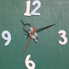 ชุดตัวเครื่องนาฬิกาญื่ปุนเดินเรียบ เข็มลายโมเดิน ขนาดเล็ก เข็มสั้น-เข็มยาวสีดำ เข็มวินาทีสีแดง อุปกรณ์ DIY