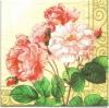 แนวภาพดอกไม้ เป็นช่อดอกไม้บนพื้นสีครีมในกรอบใหญ่ เป็นภาพครึ่งแผ่น กระดาษแนพกิ้นสำหรับทำงาน เดคูพาจ Decoupage Paper Napkins ขนาด 33X33cm