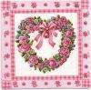แนวภาพหัวใจ ช่อดอกไม้รูปหัวใจในกรอบ ภาพโทนสีชมพู เป็นกระดาษ 4 บล๊อค กระดาษแนพคินสำหรับทำงาน เดคูพาจ Decoupage Paper Napkins เป็นภาพ 4 บล๊อค ขนาด 25X25 ซม