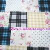 ผ้า Cotton พิมพ์ลาย สำหรับทำงานฝีมือ หรือบุชิ้นงาน - ลาย ตาราง Scott ดอกไม้ จุด โทนน้ำเงิน