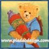 กระดาษสาพิมพ์ลาย rice paper สำหรับทำงาน handmade เดคูพาจ Decoupage แนวภาพ หมี เท็ดดี้ แบร์Teddy bear หมีชาย แบกเป้ถือหมอน พื้นหลังเหลืองเขียว (pladao design)