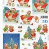กระดาษ 3D สร้างลายนูน หมีน้อยคู่หูกับของขวัญ บนรถเลื่อน กับต้นคริสมาสต์ 2 ภาพ ขนาด A4