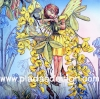 กระดาษสาพิมพ์ลาย สำหรับทำงาน เดคูพาจ Decoupage แนวภาำพ ภาพวาด Fairy Story นางฟ้าตัวน้อยในชุดสีเหลืองยืนส่องวิวอยู่บนด้นไม้สีเหลือง (ปลาดาวดีไซน์)