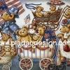 กระดาษเดคูพาจพิมพ์ลาย สำหรับทำงาน เดคูพาจ Decoupage งานฝีมือ งาน Handmade แนวภา พหมี เท็ดดี้แบร์ Teddy bear เดินพาเหรดขบวนรถเข็นเด็ก (pladao design)