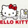 กระดาษสาพิมพ์ลาย สำหรับทำงาน เดคูพาจ Decoupage แนวภาำพ hello kitty กับน้องกระต่าย โผล่หน้ามาจ๊ะเอ๋ มีพื้นหลังเป็นสีขาว (ปลาดาวดีไซน์)