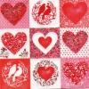 แนวภาพความรัก หัวใจในกรอบเล็ก ภาพโทนสีขาวแดง เป็นภาพ 4 บล๊อค กระดาษแนพกิ้นสำหรับทำงาน เดคูพาจ Decoupage Paper Napkins ขนาด 33X33cm