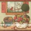 กระดาษสาพิมพ์ลาย สำหรับทำงาน เดคูพาจ Decoupage แนวภาำพ นกน้อยตัวสีแดงเกาะกิ่งไม้อยู่นอกหน้าต่าง ที่มีโต๊ะวางตระกร้าใส่ดอกไม้อยู่ข้างๆ (ปลาดาวดีไซน์)