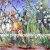 กระดาษสาพิมพ์ลาย สำหรับทำงาน เดคูพาจ Decoupage แนวภาำพ ภาพวาด Fairy Story นางฟ้ามีปีก ตัวน้อย โหนใบไม้ลงมาเล่นน้ำในลำธาร (ปลาดาวดีไซน์)
