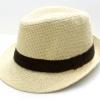ชิ้นงานดิบ เส้นใยธรรมชาติ ทำ Decoupage งานเพนท์ หมวกผ้าทอปีกสั้น สีครีมตาใหญ่คาดดำ