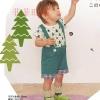ชุดเแฟชั่นเเด็ก 2 ชิ้น เสื้อสีขาว ลายต้นไม้+กางเกงสีเขียว มีสายเอี้ยม น่ารักสไตล์เกาหลี