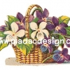 กระดาษสาพิมพ์ลาย สำหรับทำงาน เดคูพาจ Decoupage แนวภาำพ ภาพวาด ตระกร้าสานใส่ดอกไม้สีม่วง (ปลาดาวดีไซน์)