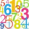 แนวภาพลายแต่ง ตัวเลขหลากสี หลายขนาด ภาพโทนสีขาว เป็นภาพ 2 บล๊อค กระดาษแนพกิ้นสำหรับทำงาน เดคูพาจ Decoupage Paper Napkins ขนาด 33X33cm