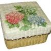 กล่องเก็บของ กล่องของขวัญ ผักตบชวาทรงจตุรัส แบบฝาครอบ ลายช่อดอกไฮเดรนเยีย ขาว ฟ้า ชมพู
