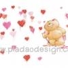 กระดาษสาพิมพ์ลาย สำหรับทำงาน เดคูพาจ Decoupage แนวภาำพ ภาพวาด ภาพแนวการ์ตูน น้องหมี ฮอลล์มาร์ค Hallmarks bear น้องหมีจิตกร in love วาดรูปเพ้นท์หัวใจสีชมพู สีแดง หลายดวง (ปลาดาวดีไซน์)