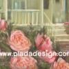 กระดาษสาพิมพ์ลาย สำหรับทำงาน เดคูพาจ Decoupage แนวภาำพ บ้านและสวน ลายซุ้มดอกกุหลาบสีโอล์ดโรสหวานๆ เป็นพุ่มอยู่หน้าบันได้บ้าน เป็นภาพวาดสีฟุ้งๆ (ปลาดาวดีไซน์)