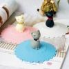 ฝาปิดแก้วซิลิโคน กดปุบดูดปับ สินค้าจากญี่ปุ่น น่ารักมาก ลายแมวครีม ฐานชมพู