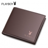 Playboy กระเป๋าสตางต์สำหรับผู้ชายหนัง PU-น้ำตาล
