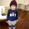 Huanshu kids ชุดเซ็ทเด็ก เสื้อแขนยาวคอกลม + กางเกงขายาว สไตล์เกาหลี