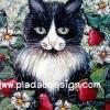 กระดาษสาพิมพ์ลาย สำหรับทำงาน เดคูพาจ Decoupage แนวภาพ แมวคุณปู่ทวดสีดำ-ขาว หนวดเฟิ้ม ภาพวาดสีน้ำ