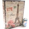 กล่องเก็บของทรงหนังสือแนววินเทจ ขนาดใหญ่ L ลาย Love My Paris