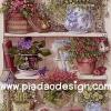 กระดาษสาพิมพ์ลาย rice paper สำหรับทำงาน handmade เดคูพาจ Decoupage แนวภาพ จัดบ้านและสวน ตู้ไม้ชั้นโชว์ไม้ดอกนานาพันธุ์ในกระถาง (ปลาดาวดีไซน์)