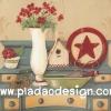 กระดาษสาพิมพ์ลาย สำหรับทำงาน เดคูพาจ Decoupage แนวภาำพ ภาพวาด ดอกไม้แดงปักอยู่ในแจกันสีขาวทรงสูง ตั่งอยู่บนตูโชว์ไม้มีลิ้นชักเยอะๆ (ปลาดาวดีไซน์)