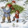 แนวภาพลายเทศกาล แซนต้า กับต้นคริสมาสต์ คืนหิมะโปรยปราย เป็นภาพ 4 บล๊อค กระดาษแนพกิ้นสำหรับทำงาน เดคูพาจ Decoupage Paper Napkins ขนาด 33X33cm