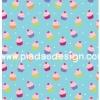 กระดาษสาพิมพ์ลาย rice paper สำหรับทำงาน เดคูพาจ Decoupage กระดาษสา แนวภาพ mini cup cake มินิคัพเค๊ก หลากหลายสีสันบนพื้นสีฟ้า น่ารักจุงเบย (ปลาดาวดีไซน์)
