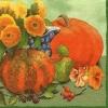 แนวภาพผลไม้ เหล่าพืชผักสวนครัวเป็นภาพวาดลงสี ภาพโทนสีเขียว เป็นภาพแนวยาว กระดาษแนพกิ้นสำหรับทำงาน เดคูพาจ Decoupage Paper Napkins ขนาด 33X33cm กระดาษรุ่นพิเศษ