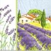 แนวภาพดอกไม้ บ้านกับทุ่งดอกลาเวนเดอร์ เป็นกระดาษ 4 บล๊อค กระดาษแนพคินสำหรับทำงาน เดคูพาจ Decoupage Paper Napkins เป็นภาพ 4 บล๊อค ขนาด 25X25 ซม