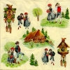 แนวภาพการ์ตุน เด็กหนุ่มสาว บ้านนกนาฬิกา บ้านชนบท ภาพแนวสีครีม เป็นภาพ 4 บล๊อค กระดาษแนพกิ้นสำหรับทำงาน เดคูพาจ Decoupage Paper Napkins ขนาด 33X33cm