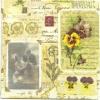 แนวภาพศิลปะ ภาพแนววินเทจ รูปถ่ายกับดอกไม้ บนพื้นโปสการ์ด สีครีม เป็นกระดาษ 4 บล๊อค กระดาษแนพคินสำหรับทำงาน เดคูพาจ Decoupage Paper Napkins เป็นภาพ 4 บล๊อค ขนาด 25X25 ซม