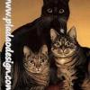 กระดาษสาพิมพ์ลาย สำหรับทำงาน เดคูพาจ Decoupage แนวภาำพ แมวน้อยตัวดำ 1 ตัว กับแมวลายก้างปลาสีเทา 2 ตัว ยืนเบิ่งตาเขม็ง (ปลาดาวดีไซน์)