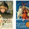 กระดาษเดคูพาจพิมพ์ลาย สำหรับทำงาน เดคูพาจ Decoupage งานฝีมือ งาน Handmade แนวภาพ Happy Halloween มีทั้งแม่มดสาวสุดสวย กะแม่มดแก่ใจดีผู้มาพร้อมกับนกฮูกของ Harry Potter ในสไตนล์ วินเทจ vintage (pladao design)